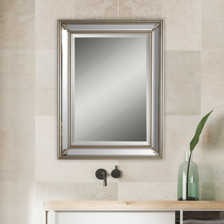 Lily Lifestyle Mirror Antiqued Silver Leaf W00462