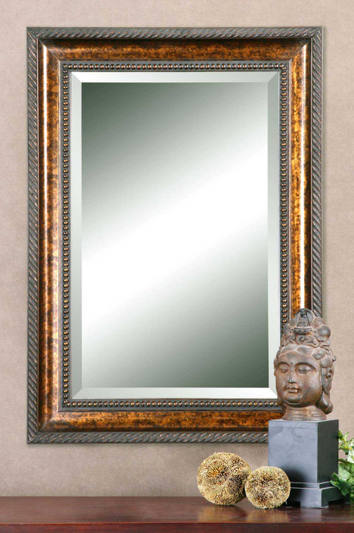 Lily Lifestyle Mirror Gold Leaf Undercoat Blotched Brown Stain Black Speckling Dark Gray Glaze W00463