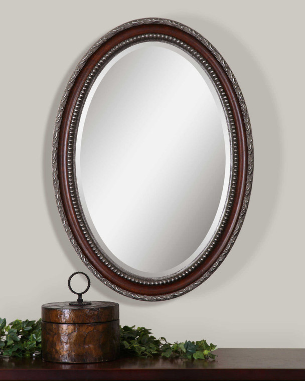 Lily Lifestyle Mirror Distressed Dark Mahogany Wood Tone With Antiqued Silver Details W00464