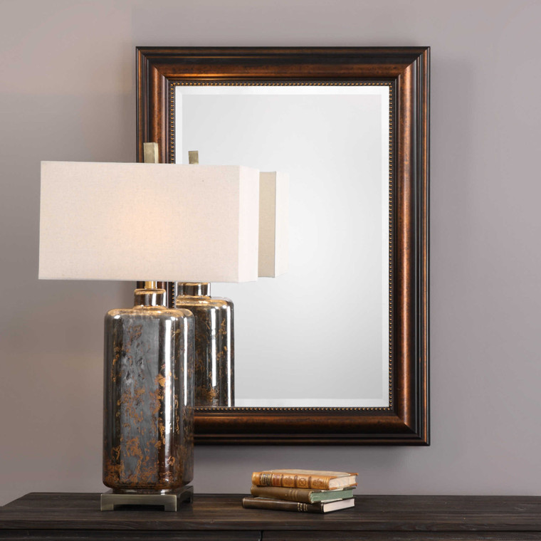Lily Lifestyle Mirror Finished In A Rubbed Bronze Finish With Subtle Golf Leaf Undertones W00465