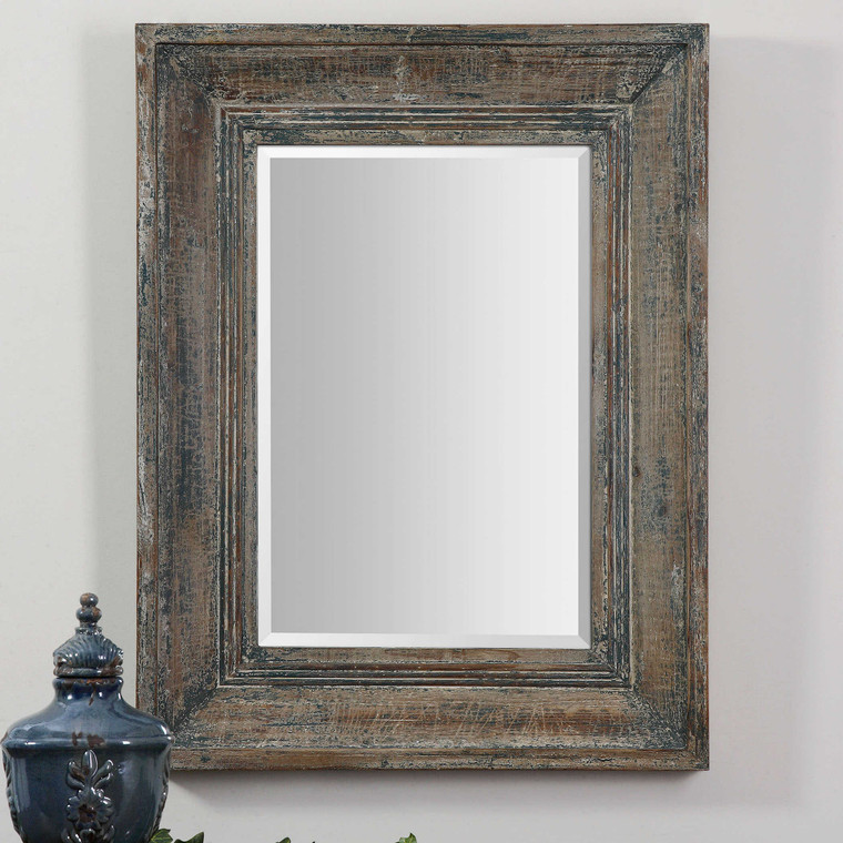 Lily Lifestyle Mirror Heavily Distressed Blue Green With Aged Wood Undertones And Rustic Ivory Accents W00467