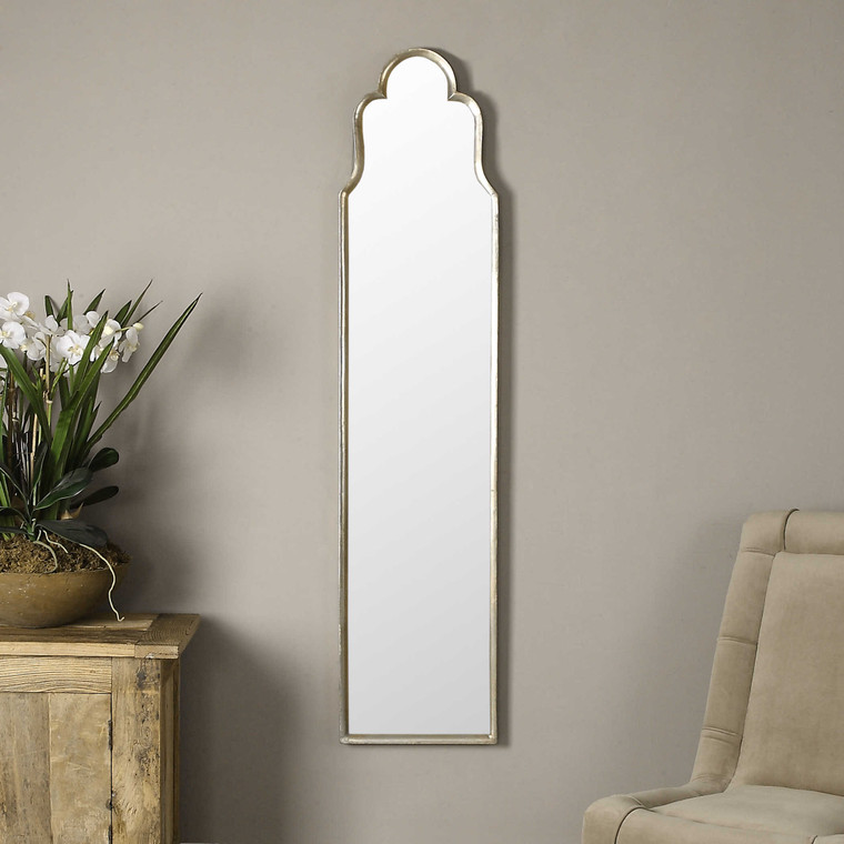 Lily Lifestyle Mirror Curved Metal Finished In A Plated Oxidized Silver Free Standing Or Wall Hung W00468