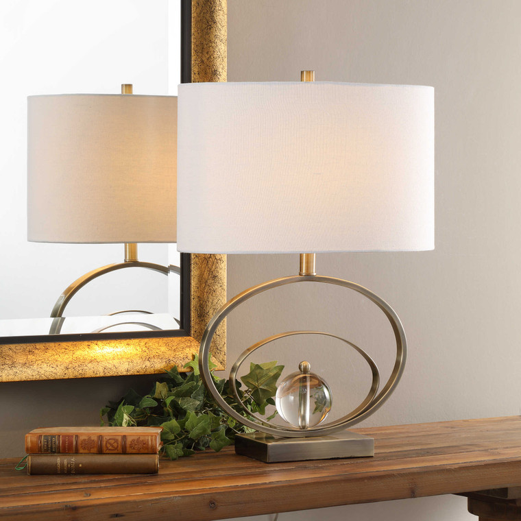 Lily Lifestyle Table Lamp Plated Antique Brass And Crystal W26013-1