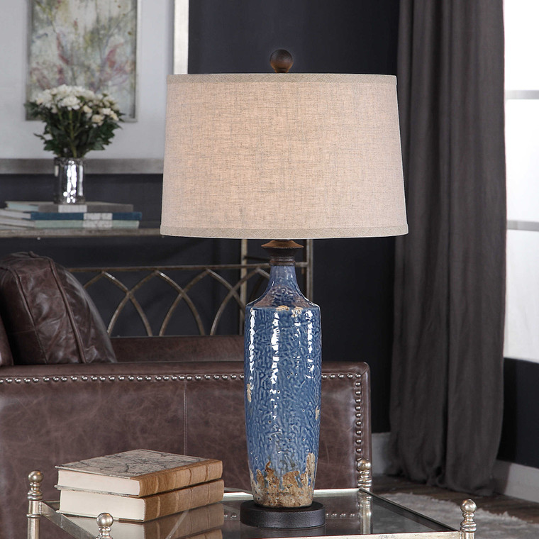 Lily Lifestyle Table Lamp Blue Textured Ceramic Base W26026-1