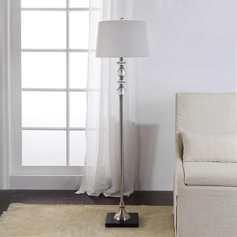 Lily Lifestyle Floor Lamp Brushed Nickel Body Sitting On A Dark Gun Metal Base W26036-1