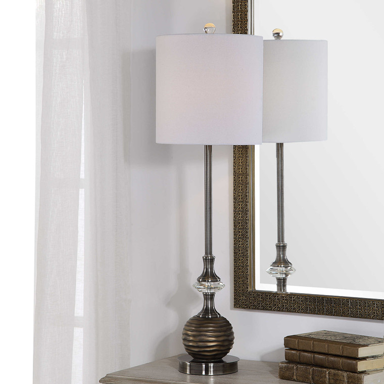 Lily Lifestyle Table Lamp Textured Sphere With Bronze Highlights - The Brushed Nickel And Crystal Accents W26037-1