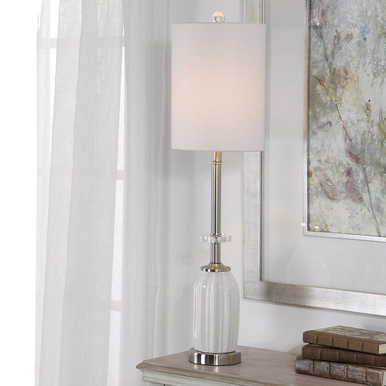 Lily Lifestyle Table Lamp White Ceramic Base With Brushed Nickel And Crystal Accents W26038-1
