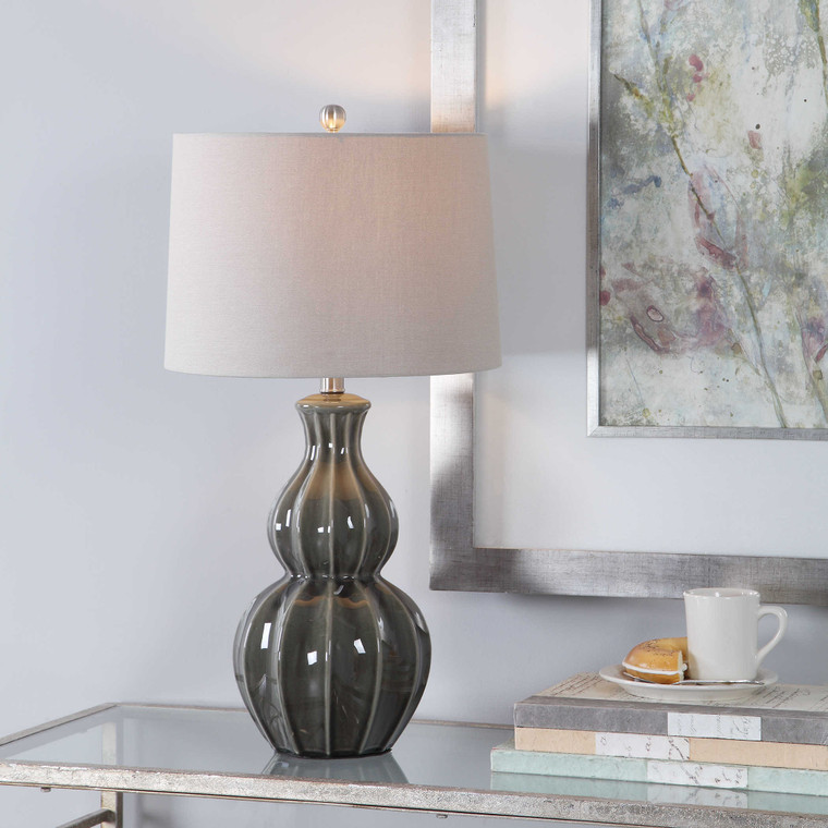 Lily Lifestyle Table Lamp Olive Colored Ceramic Base With Ribbed Detail And Brushed Nickel Accents W26040-1