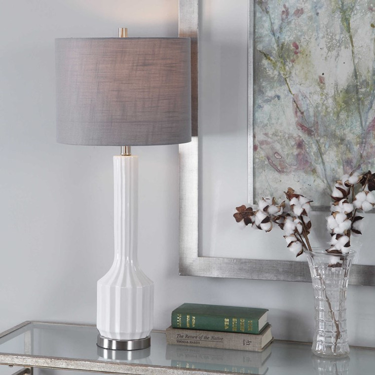 Lily Lifestyle Table Lamp Simple Ribbed Textured Ceramic Base Finished W26045-1