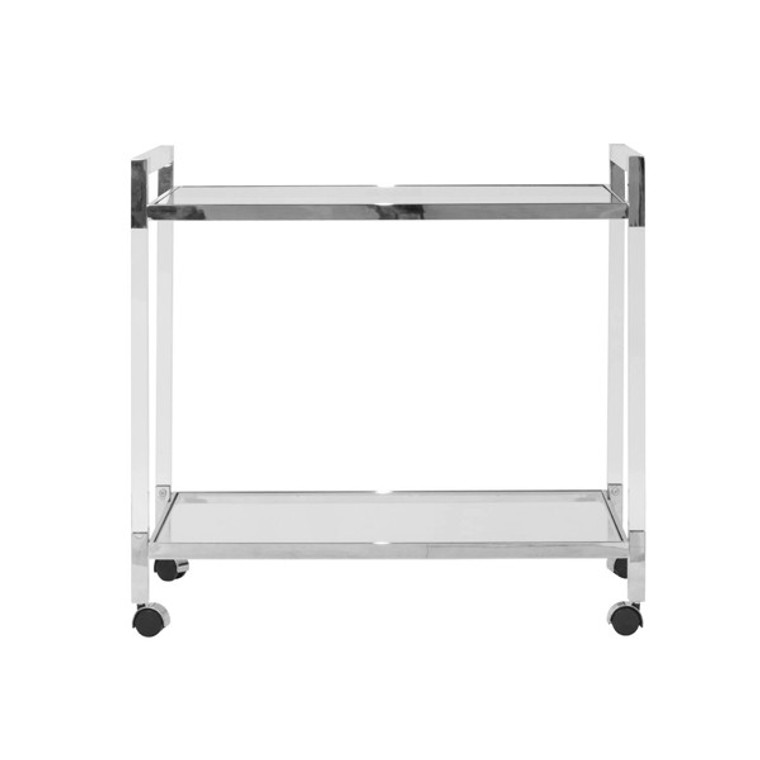 Worlds Away Archie Bar Cart Acrylic with Nickel Hardware ARCHIE N