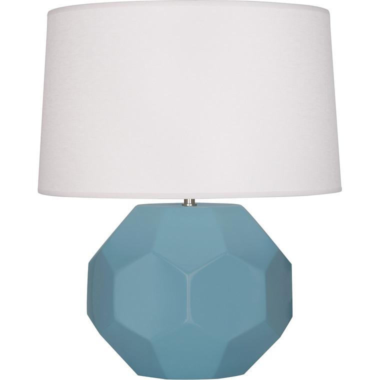 Robert Abbey Matte Steel Blue Franklin Table Lamp in Matte Steel Blue Glazed Ceramic