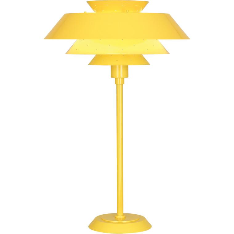 Robert Abbey Pierce Table Lamp in Canary Yellow Gloss Finish