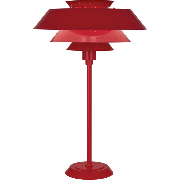 Robert Abbey Pierce Table Lamp in Ruby Red Gloss Finish