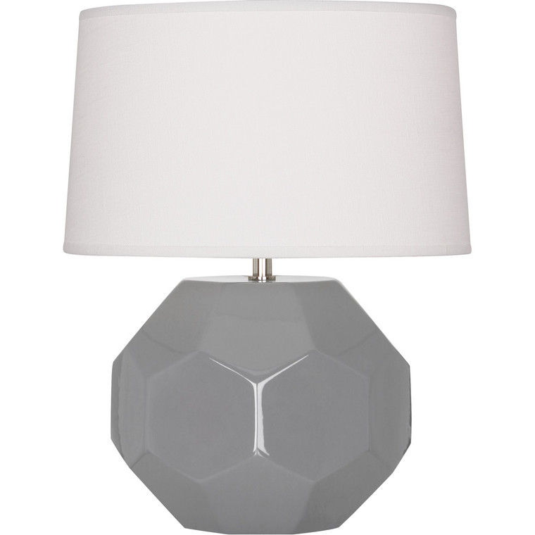 Robert Abbey Smokey Taupe Franklin Table Lamp in Smoky Taupe Glazed Ceramic