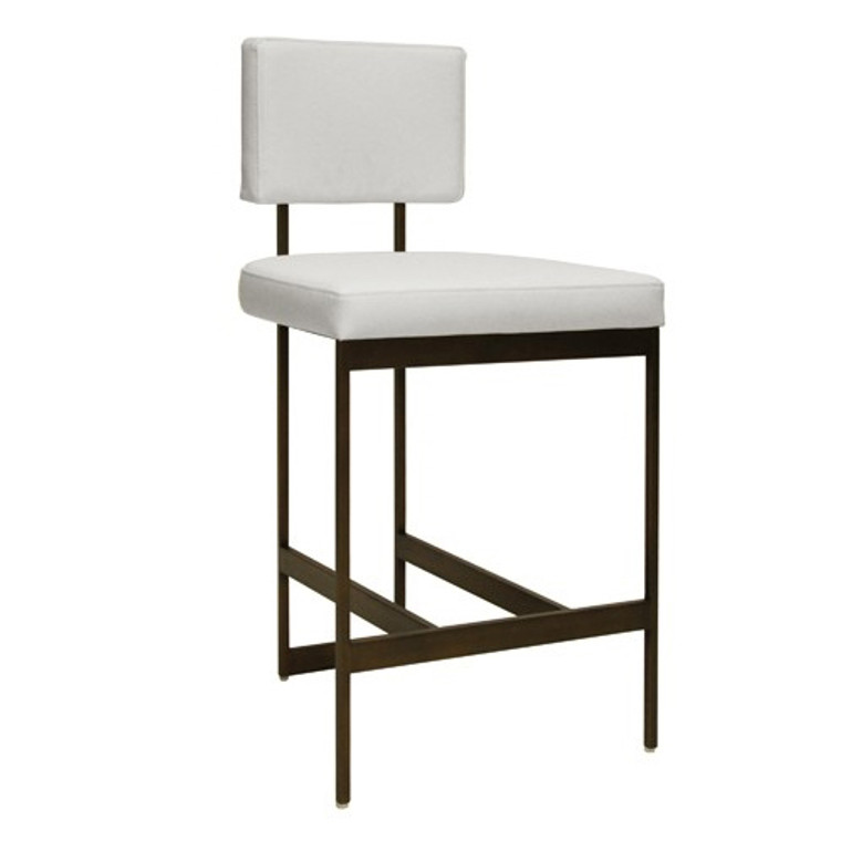 Worlds Away Baylor Counter Stool Chair with White Vinyl Cushion in Bronze BAYLOR BWH