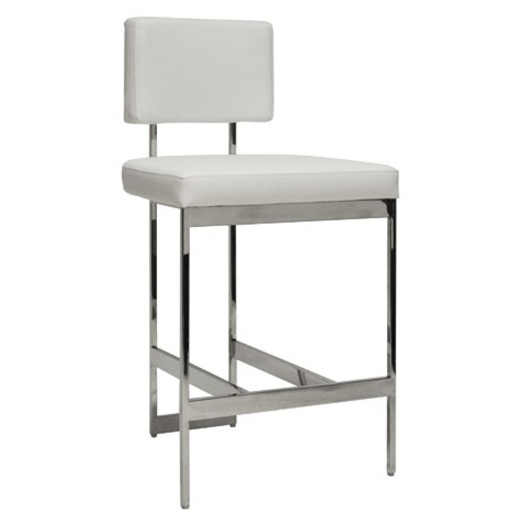 Worlds Away Baylor Counter Stool Chair with White Vinyl Cushion in Nickel BAYLOR NWH