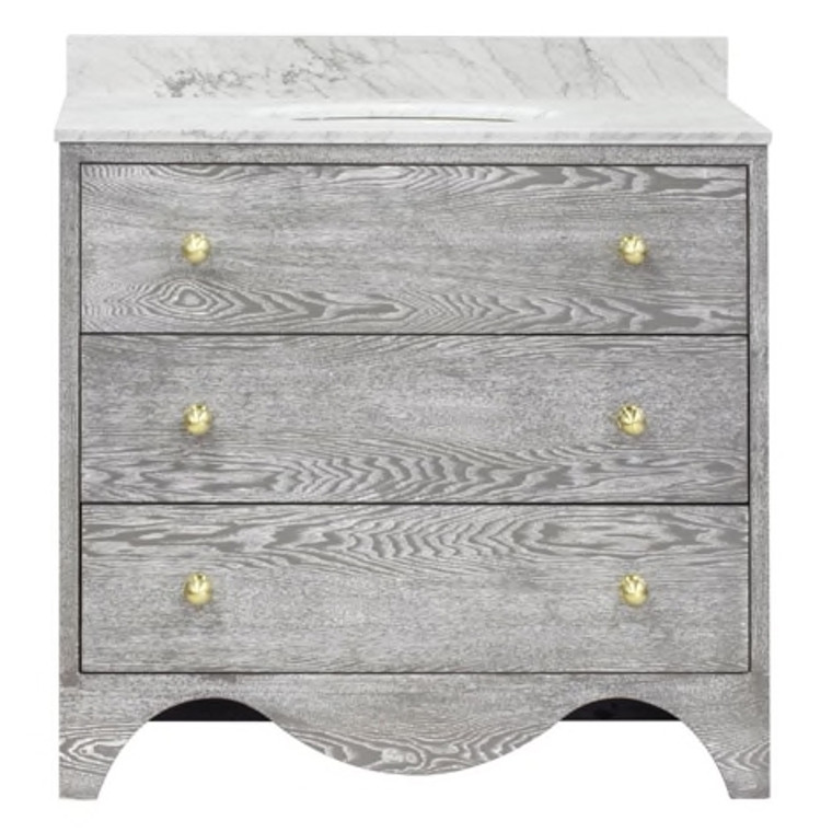 Worlds Away Betsy Bath Vanity in Grey Cerused Oak with White Marble Top and Antique Brass Hardware BETSY GCO