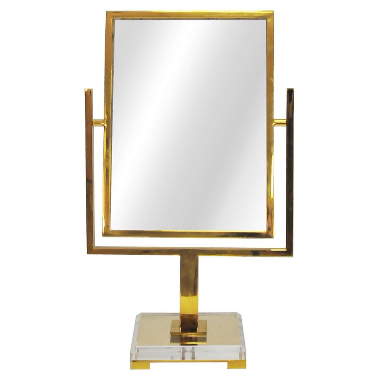 Worlds Away Caitlin Counter Top Mirror in Brass with Acrylic Base CAITLIN BR