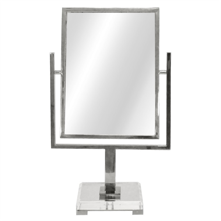 Worlds Away Caitlin Counter Top Mirror in Nickel with Acrylic Base CAITLIN N