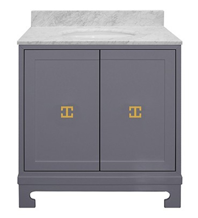 Worlds Away Candace Gray Lacquer Bath Vanity with White Carrara Marble Top and Gold Leaf Hardware CANDACE GRY