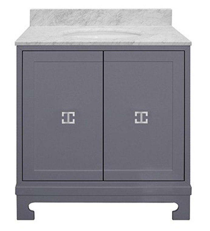 Worlds Away Candace Gray Lacquer Bath Vanity with White Carrara Marble Top and Nickel Hardware CANDACE GRYN