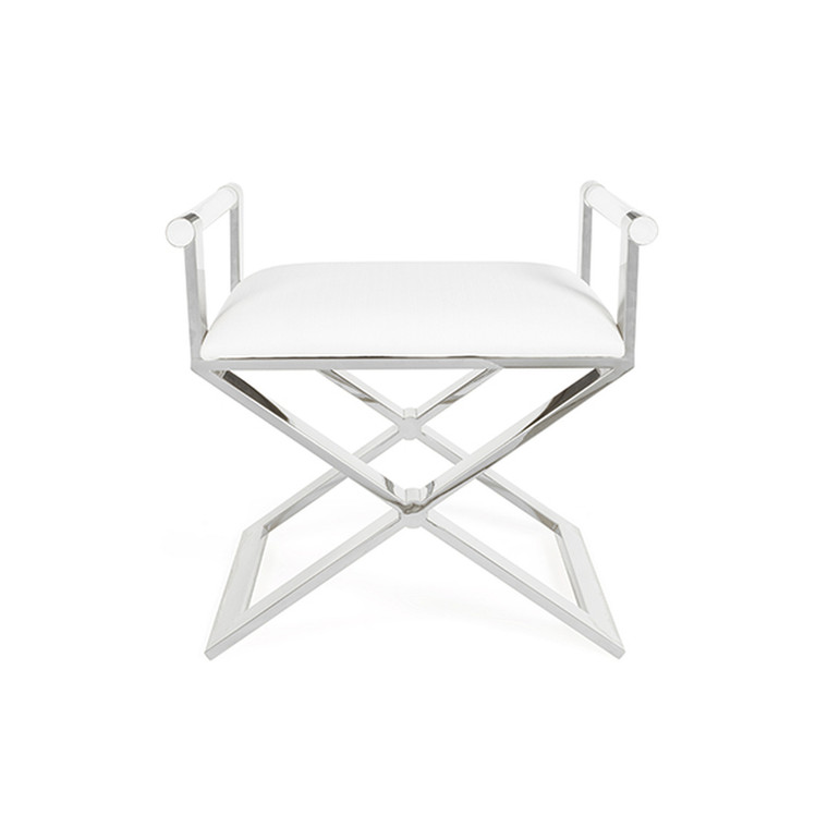 Worlds Away Sable Stool in Polished Nickel with White Linen Cushion SABLE N