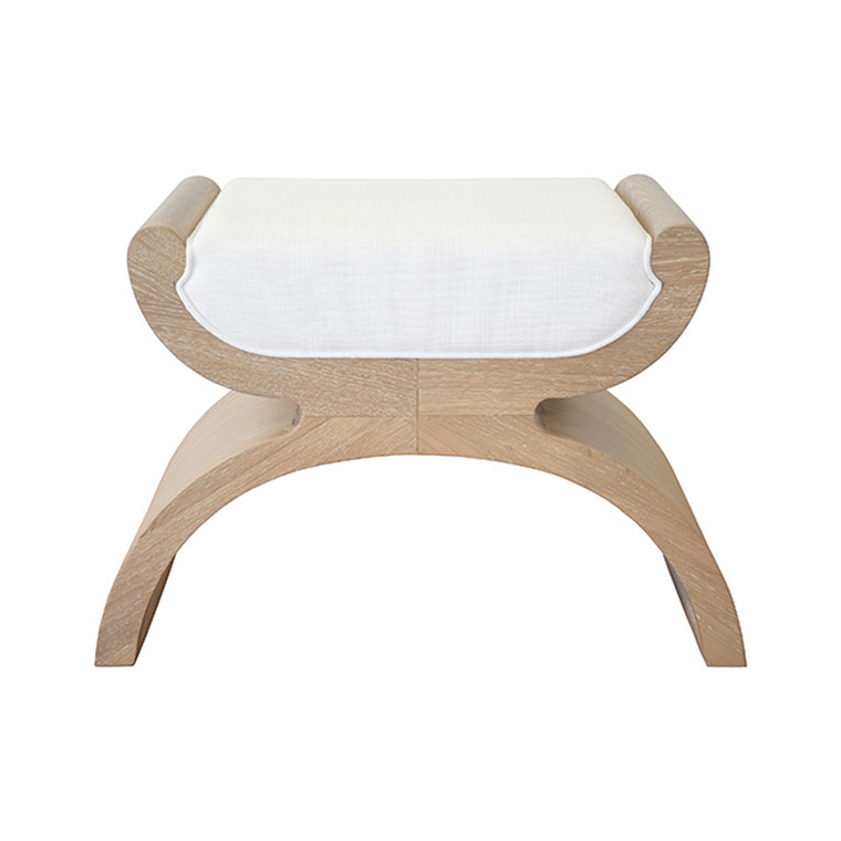 Worlds Away Janna Stool in Natural Oak with White Linen Cushion JANNA CO