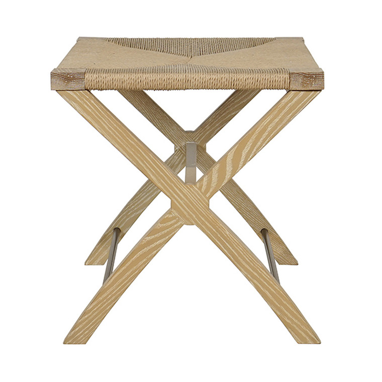 Worlds Away Conan Stool in Cerused Oak and Woven Rush Seat CONAN CO