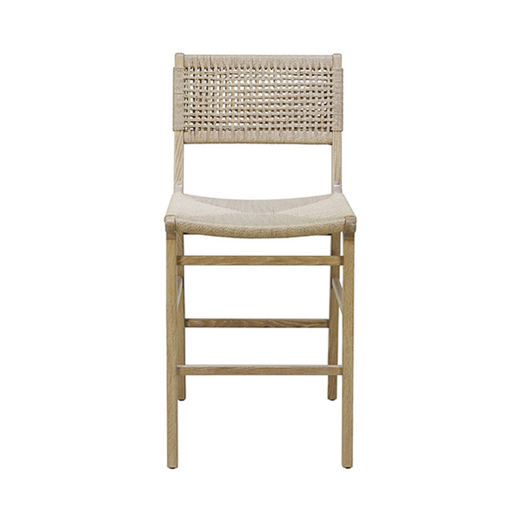Worlds Away Astrid Counter Stool in Cerused Oak and Woven Back and Rush Seat ASTRID CO
