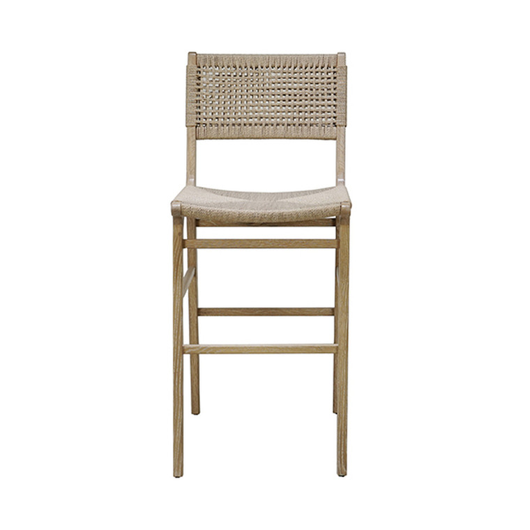 Worlds Away Carson Bar or Counter Stool in Cerused Oak and Woven Back and Rush Seat CARSON CO