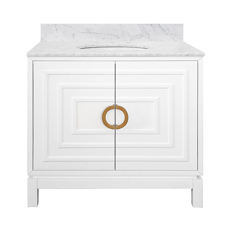 Worlds Away Bixby Bathroom Vanity in Matte White with Antique Brass Circle Hardware BIXBY WH