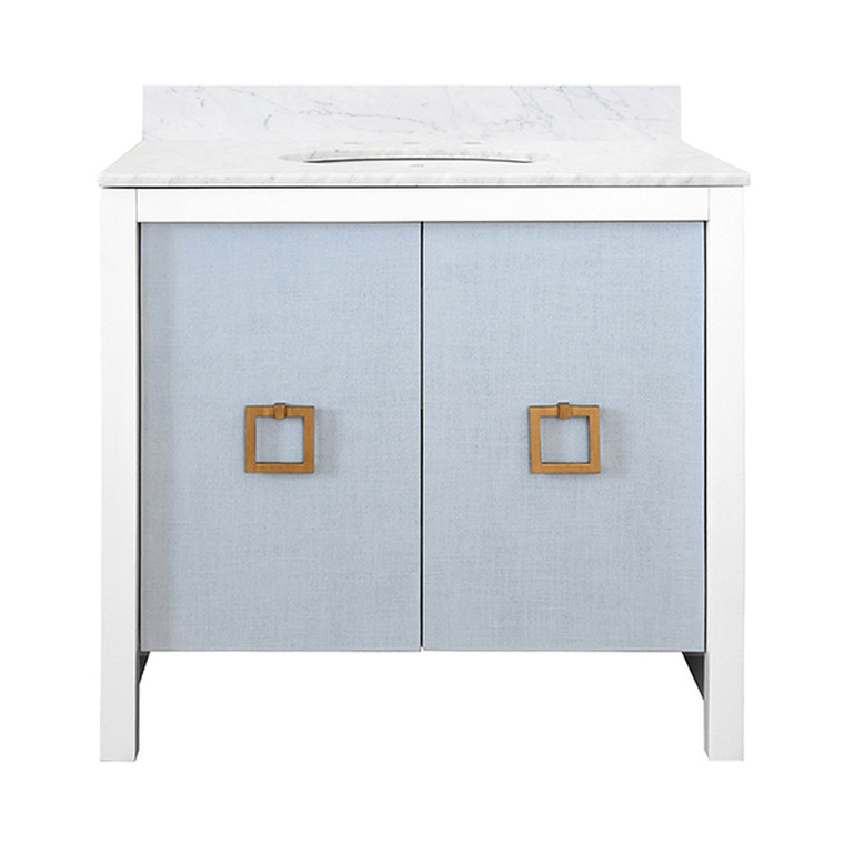 Worlds Away April Bathroom Vanity in Matte White Lacquer and Light Blue with Antique Brass Hardware APRIL LB