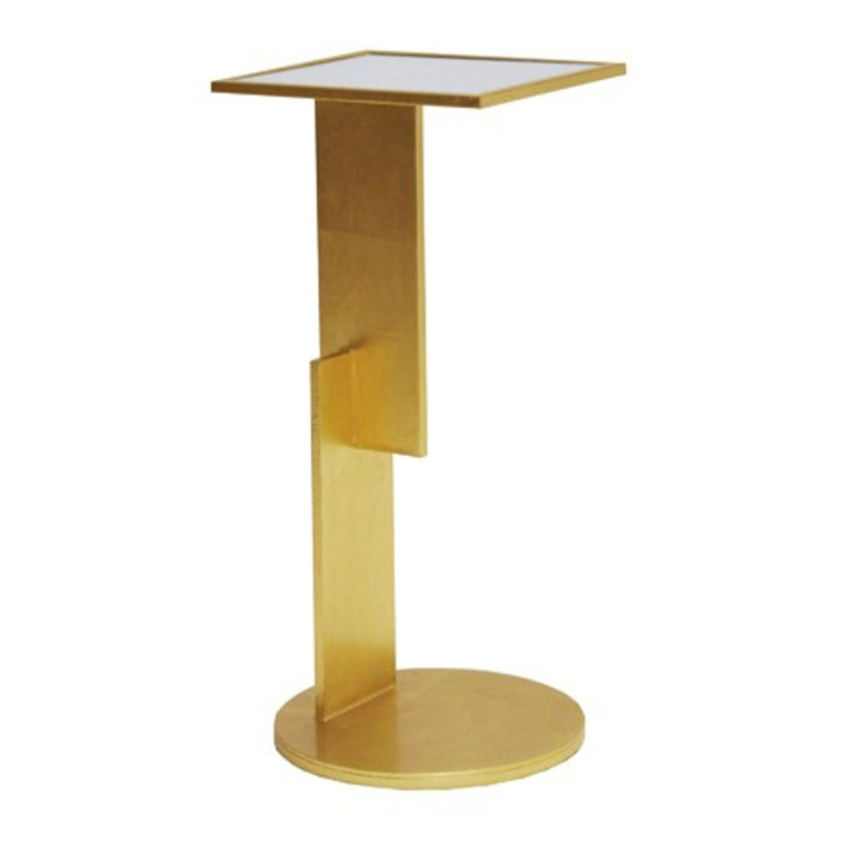 Worlds Away Ellington Sculptural Geometric Iron Cigar Table in Gold Leaf with Mirror Top ELLINGTON G