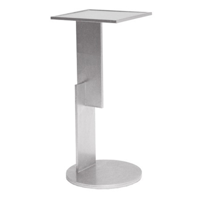 Worlds Away Ellington Sculptural Geometric Iron Cigar Table in Silver Leaf with Mirror Top ELLINGTON S