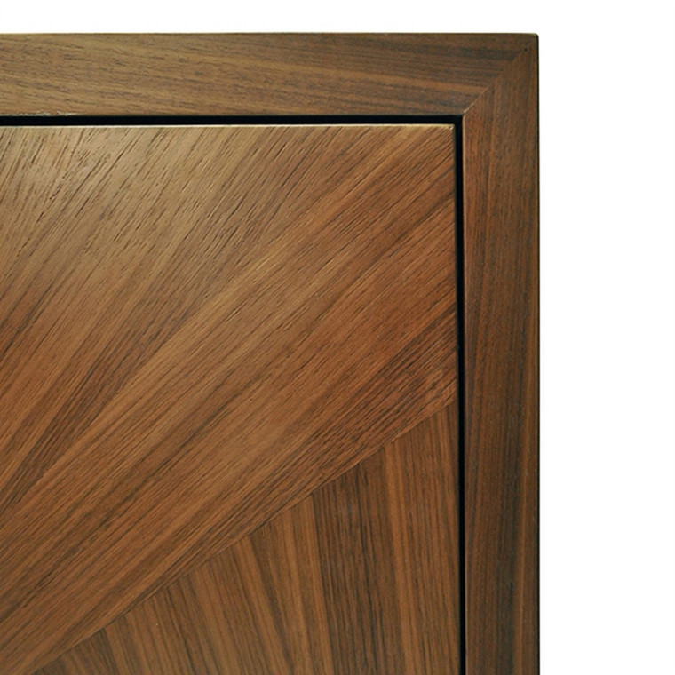 Worlds Away Emory Radial Walnut Cabinet with Painted Bronze Legs and Hardware EMORY
