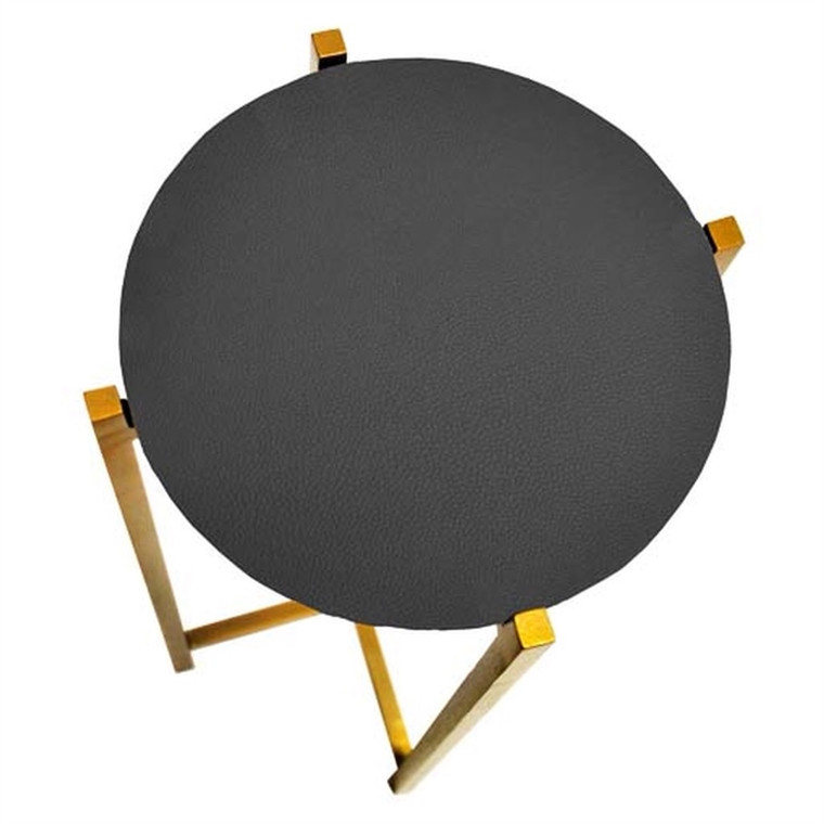 Worlds Away Fitz Antique Brass Cigar Side Table with Black Shagreen Round Top FITZ BLS