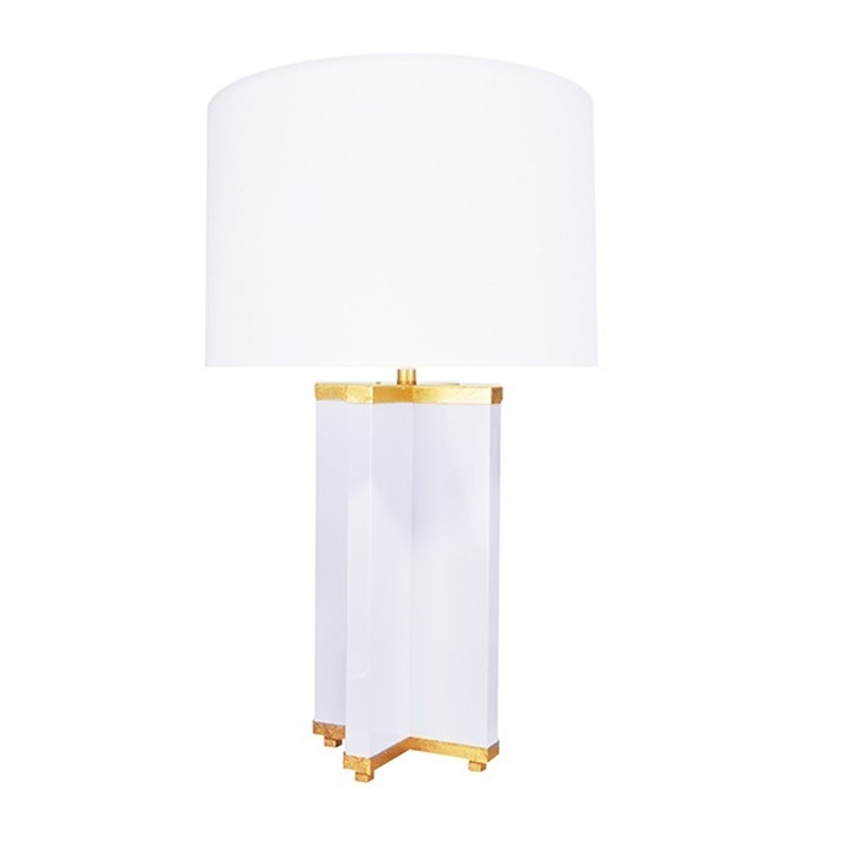 Worlds Away Hanover Cross Base Table Lamp in White Lacquer and Gold Leaf HANOVER WH