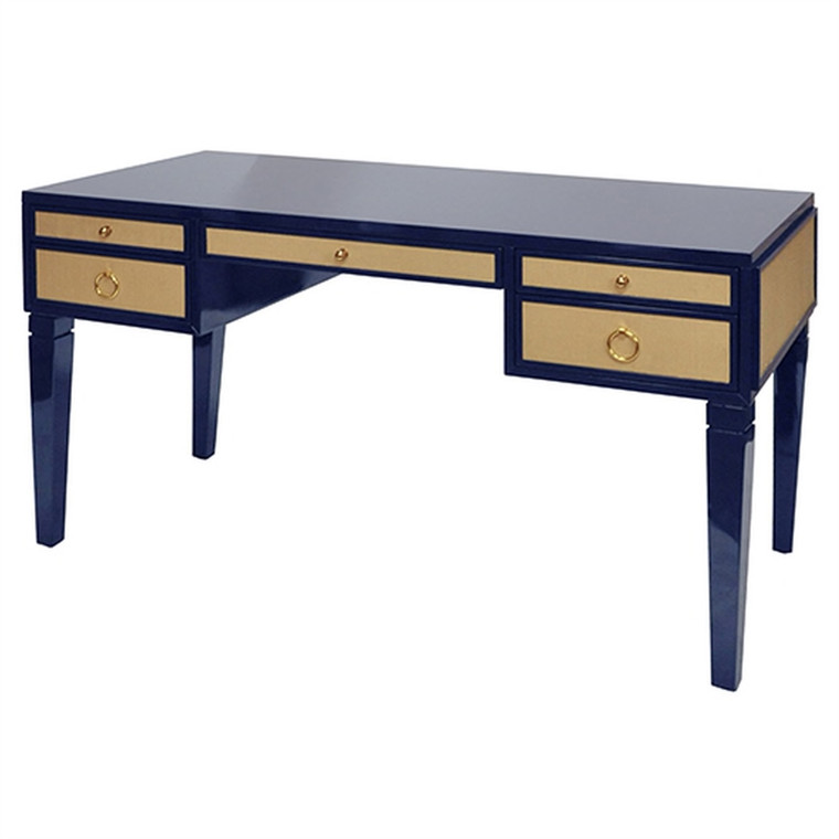 Worlds Away Heidi Navy Matte Lacquer Desk with Grasscloth Drawer with Brass Hardware HEIDI NVY