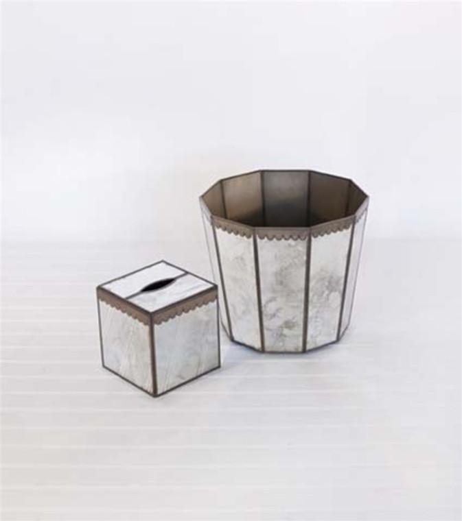 Worlds Away Hexagonal Antiqued Mirror Wastebasket with Scallops WB252