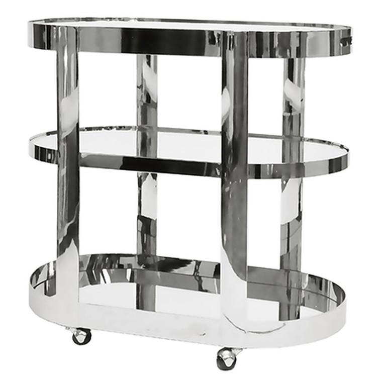 Worlds Away Hugh Three Tier Bar Cart with Inset Mirror in Nickel HUGH N