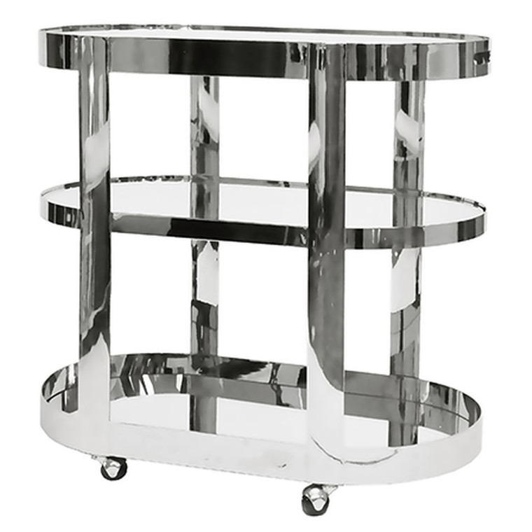 Worlds Away Hugh Three Tier Bar Cart with Inset Mirror in Nickel HUGH N