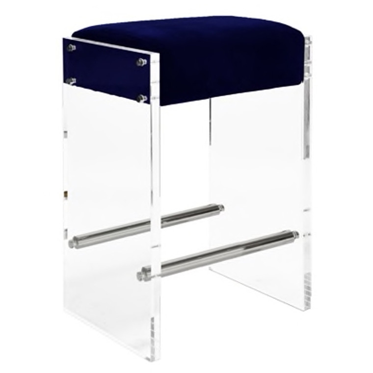 Worlds Away Indy Acrylic Panel Counter Stool Chair with Nickel Accents and Navy Velvet Cushion INDY NNVY