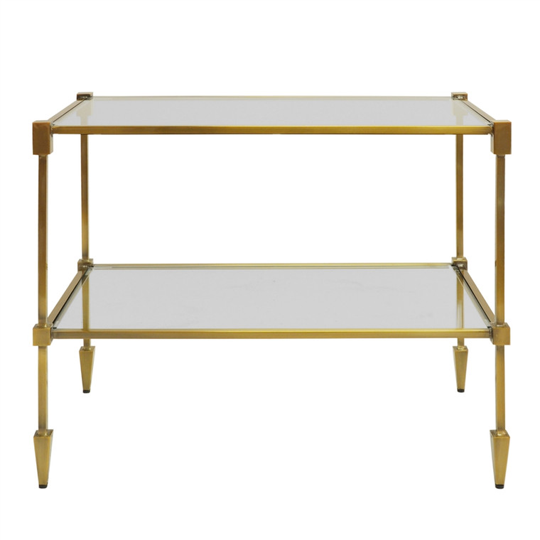 Worlds Away Lasso Two Tier Table in Antique Brass LASSO ABR