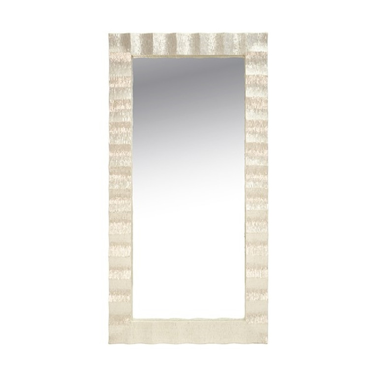 Worlds Away Milo Floor Mirror with Pearlized Capiz Scallop Frame MILO