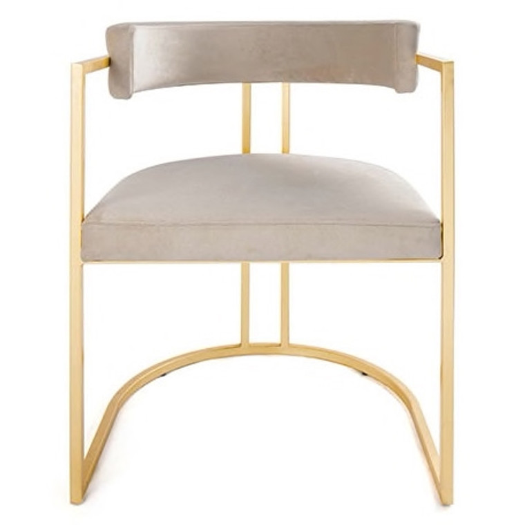 Worlds Away Mona Barrel Back Counter Stool Chair with Gold Leaf Base in Cream Velvet MONA GCRM