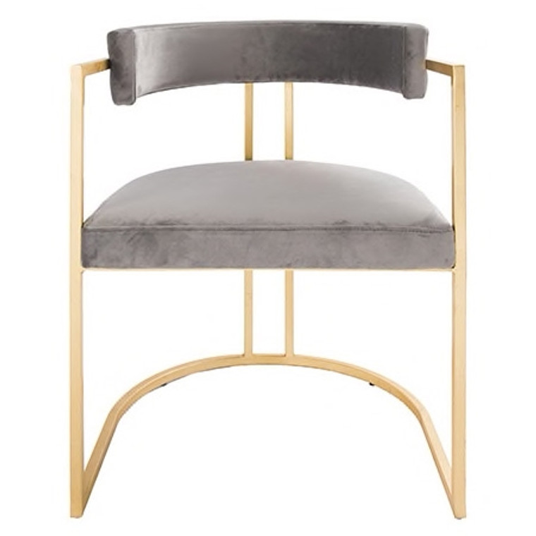 Worlds Away Mona Barrel Back Counter Stool Chair with Gold Leaf Base in Grey Velvet MONA GGRY
