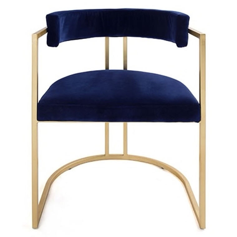 Worlds Away Mona Barrel Back Counter Stool Chair with Gold Leaf Base in Navy Velvet MONA GNVY