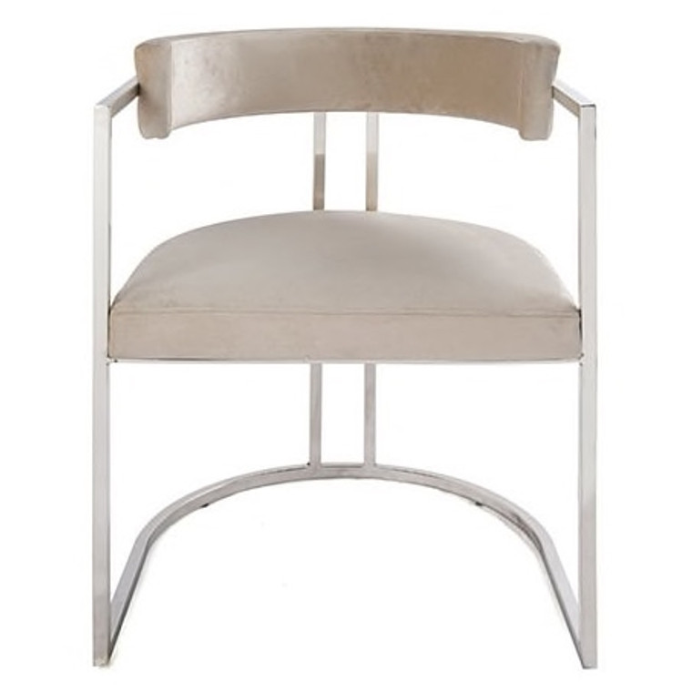 Worlds Away Mona Barrel Back Counter Stool Chair with Nickel Base in Cream Velvet MONA NCRM