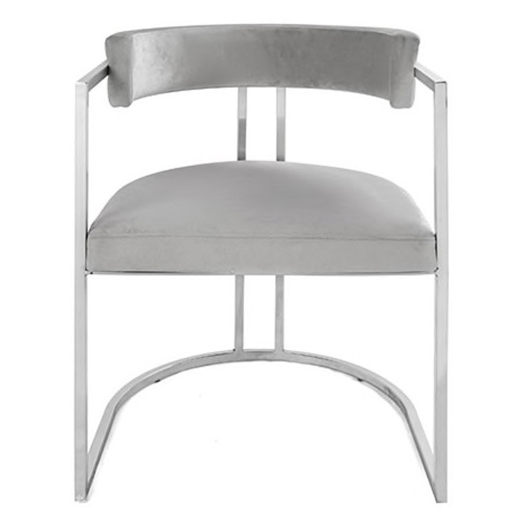 Worlds Away Mona Barrel Back Counter Stool Chair with Nickel Base in Grey Velvet MONA NGRY