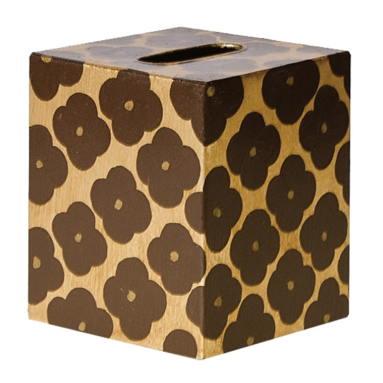 Worlds Away Morocco Gold and Brown Tissue Box KBMOROCCOBG